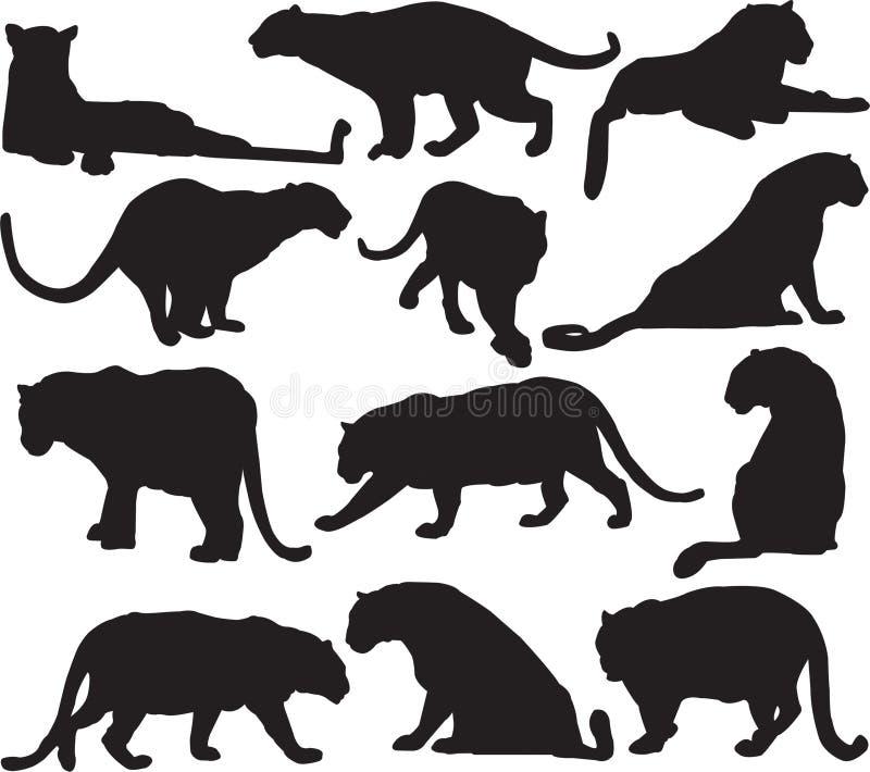 Découpe de silhouette de léopard ou de panthère illustration libre de droits