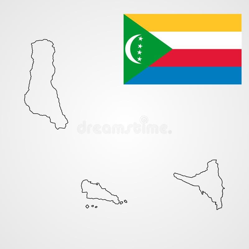 Découpe et drapeau de carte des Comores illustration stock