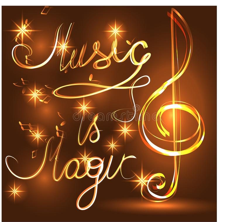 Découpe lumineuse élégante de la clef triple sur un fond foncé, néon-effet, musique, note musicale images libres de droits