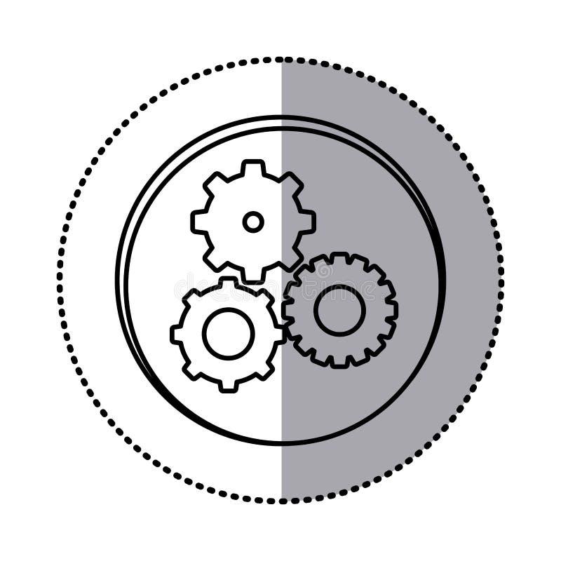 découpe monochrome avec l'autocollant de cercle de l'icône réglée de pignons illustration de vecteur