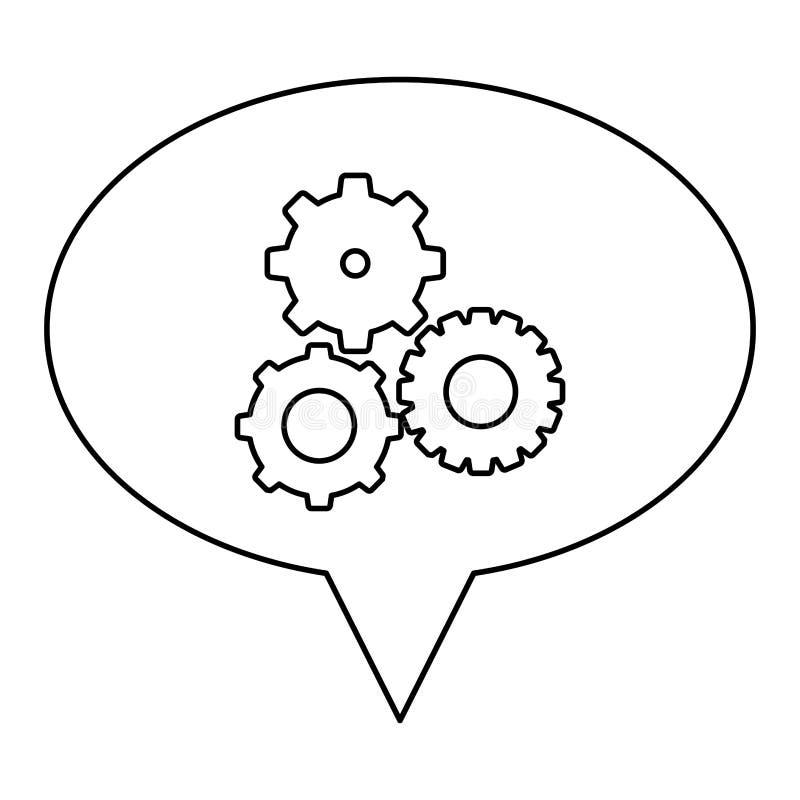 découpe monochrome de discours ovale avec des pignons réglés illustration de vecteur