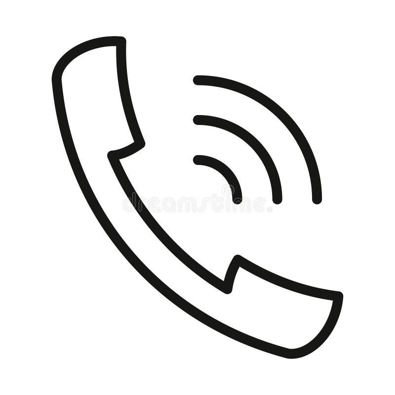 Découpe noire de sonnerie de combiné d'icône sur le fond blanc de l'illustration illustration de vecteur