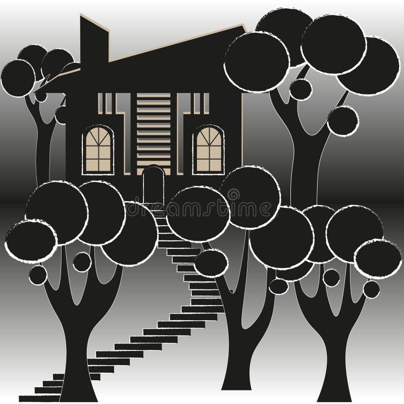 Découpe noire et blanche de Chambre et de jardin illustration libre de droits