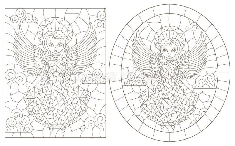 Découpe réglée avec des illustrations de verre souillé avec des anges, de rond et d'image rectangulaire, découpes foncées sur un  illustration stock