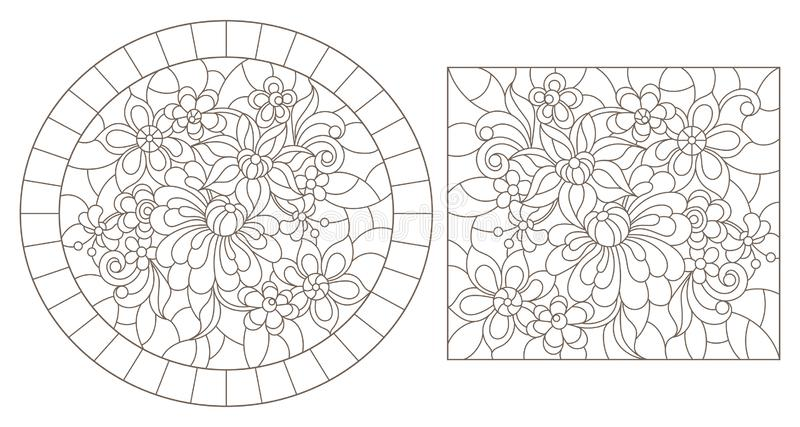 Découpe réglée avec des illustrations de verre souillé avec les fleurs abstraites, découpes foncées sur un fond blanc illustration de vecteur
