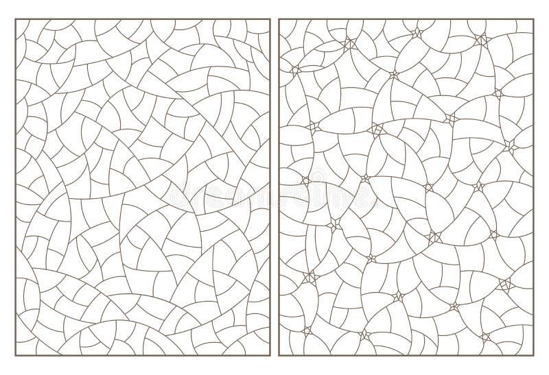 Découpe réglée avec des illustrations de verre souillé avec les fonds d'image abstraits, découpes foncées sur le fond blanc illustration stock