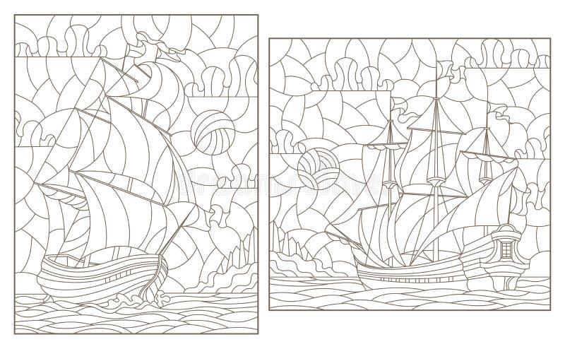 Découpe réglée avec des illustrations de verre souillé, de paysage marin, de navigation de bateaux sur le fond du ciel nuageux et illustration stock