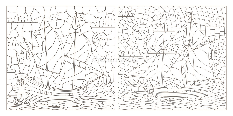 Découpe réglée avec des illustrations de verre souillé, de paysage marin, de navigation de bateaux sur le fond du ciel nuageux et illustration de vecteur