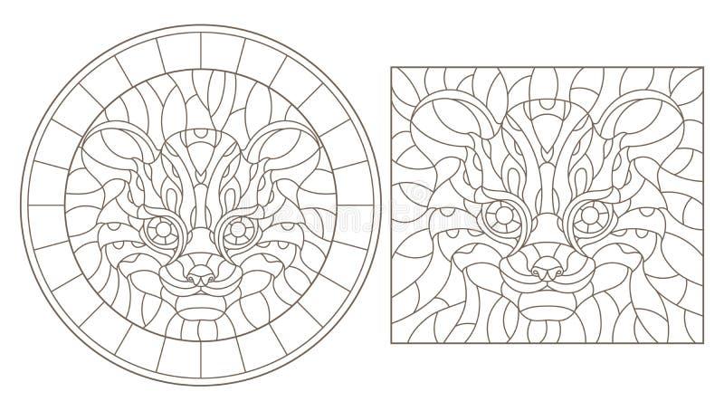Découpe réglée avec des illustrations de verre souillé avec une tête de guépard, de rond et d'image carrée, découpes foncées sur  illustration libre de droits