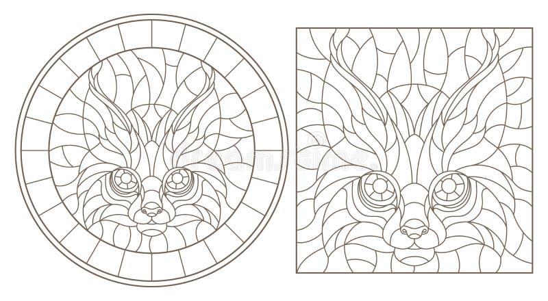 Découpe réglée avec des illustrations de verre souillé avec une tête de lynx, de rond et d'image carrée, découpes foncées sur le  illustration stock