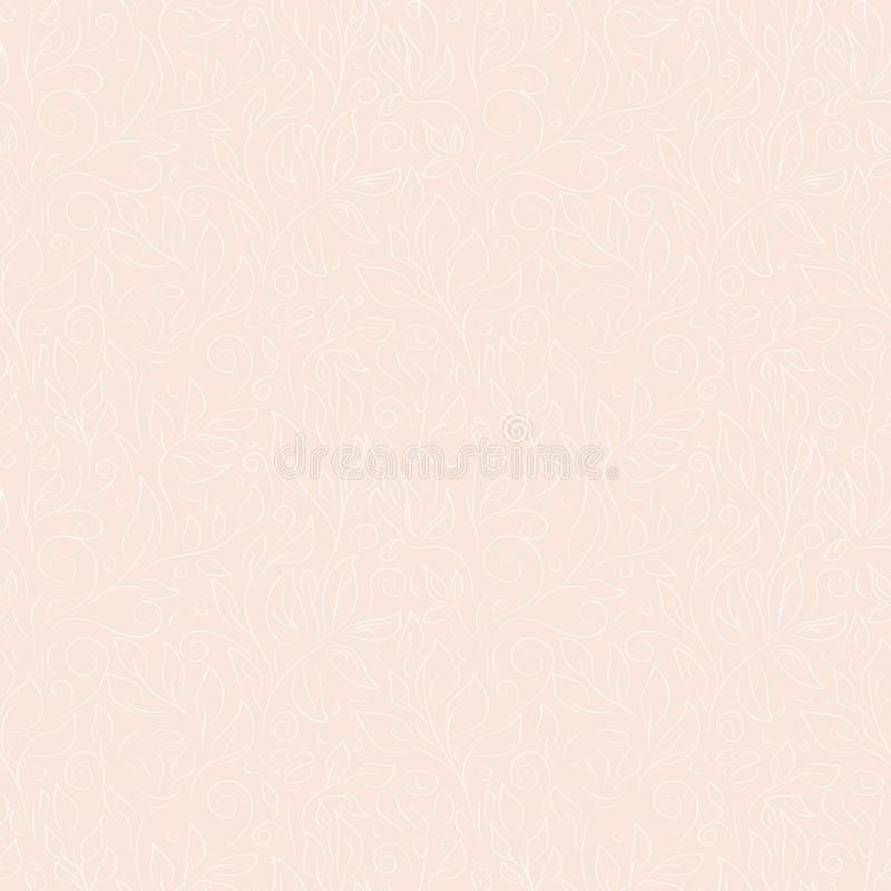 Découpes blanches et grises de griffonnage tiré par la main des fleurs et des feuilles abstraites sur le fond rose illustration de vecteur