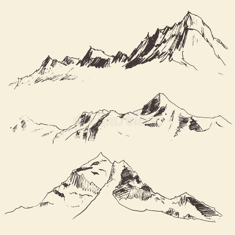Découpes de montagnes gravant le croquis de vecteur illustration de vecteur