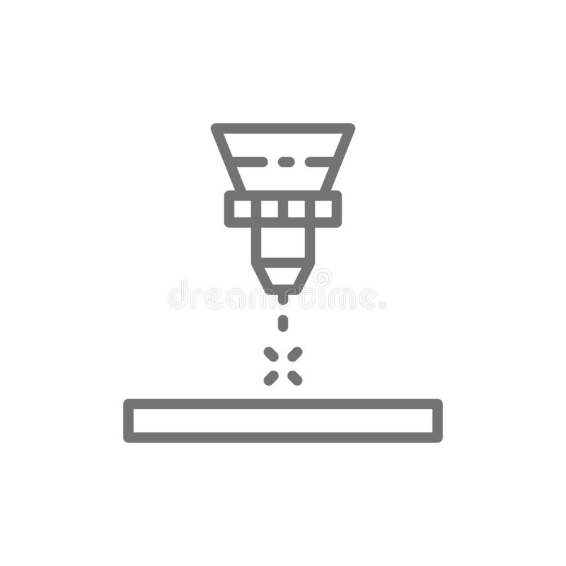 Découpeuse de laser, laser gravant la ligne icône illustration de vecteur
