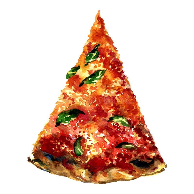 Découpez la pizza de tranche d'isolement sur le fond blanc illustration de vecteur