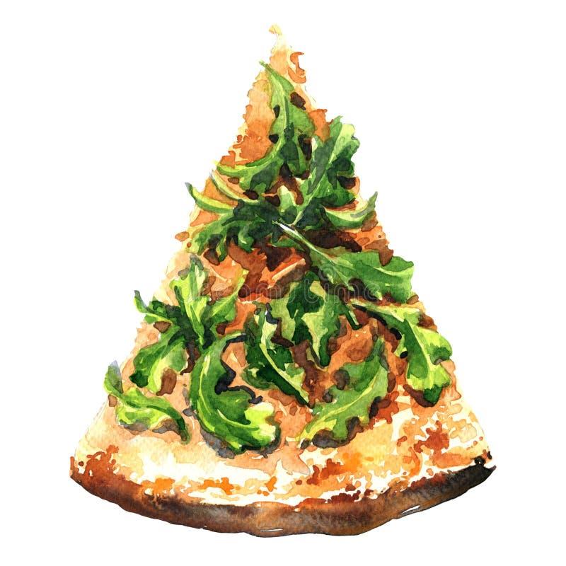 Découpez la pizza de tranche d'isolement sur le fond blanc illustration stock