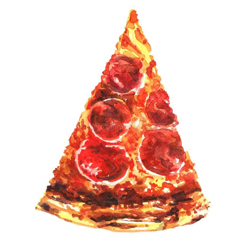 Découpez la pizza de tranche d'isolement sur le fond blanc illustration libre de droits