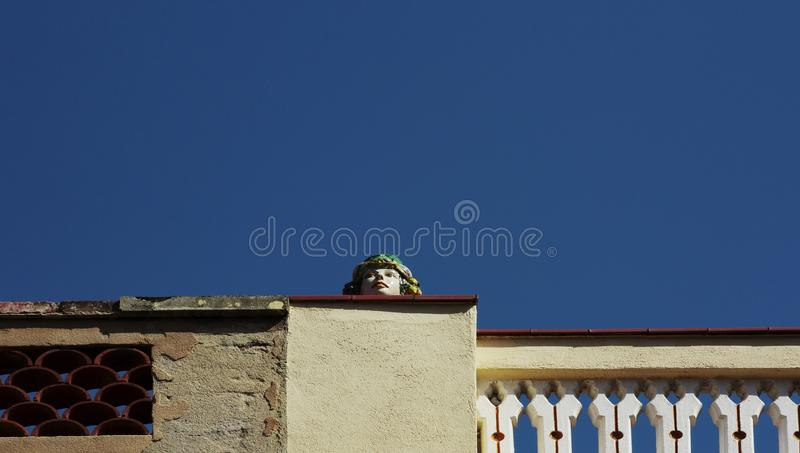 Découpez la tête sur la corniche photographie stock libre de droits