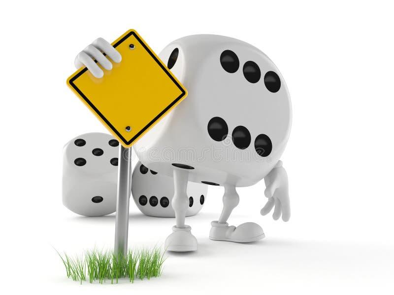 Découpez le caractère avec le panneau routier vide illustration de vecteur
