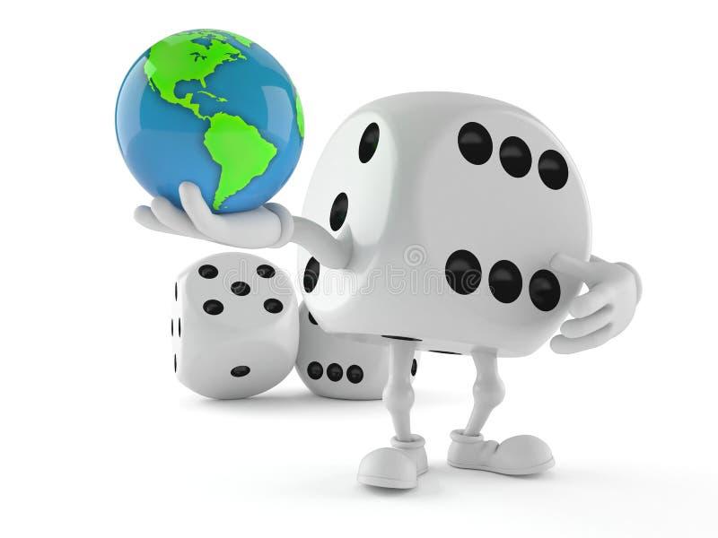 Découpez le globe du monde de participation de caractère illustration de vecteur