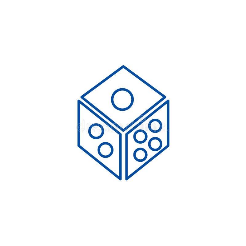 Découpez, ligne concept de cube en jeu d'icône Découpez, symbole plat de vecteur de cube en jeu, signe, illustration d'ensemble illustration stock