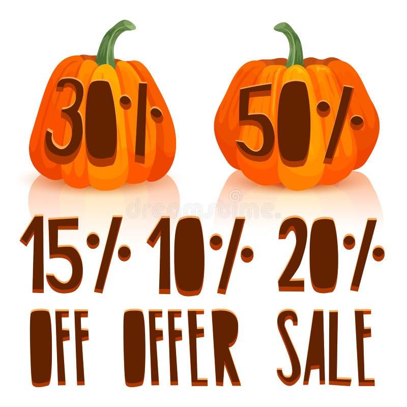 Découpez un potiron en vente d'automne La conception des potirons oranges avec des remises de pour cent Placez le potiron pour l' illustration libre de droits