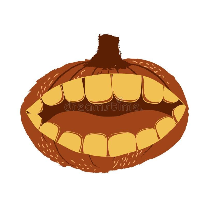 Découpez une bouche dans le potiron de Halloween illustration stock