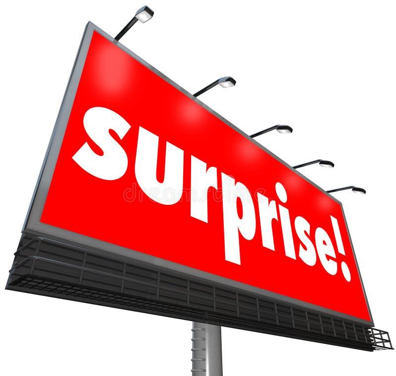 Découverte choquante de panneau d'affichage de surprise de publicité rouge de bannière illustration de vecteur