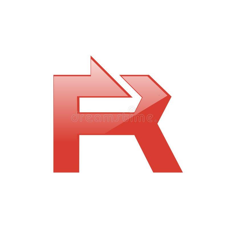 Découverte et calibre audacieux de symbole de signe de lettre de flèche de R illustration stock