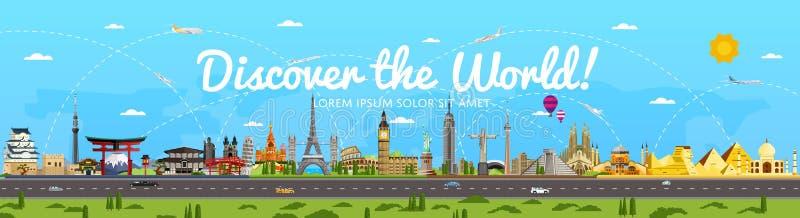 Découvrez l'affiche du monde avec les attractions célèbres illustration stock