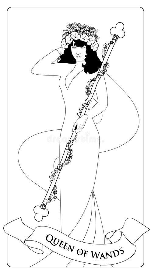 Décrit la reine des baguettes magiques avec des fleurs couronnent, jugeant une tige entourée par une guirlande des feuilles et de illustration stock