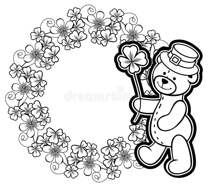 Décrivez autour du cadre avec la découpe d'oxalide petite oseille et l'ours de nounours trame photo stock