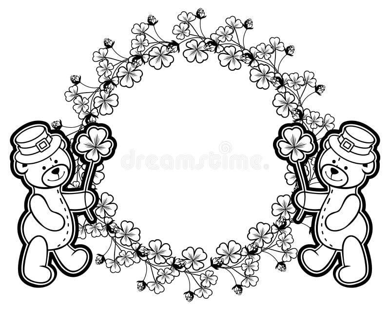 Décrivez autour du cadre avec la découpe d'oxalide petite oseille et l'ours de nounours trame photographie stock libre de droits