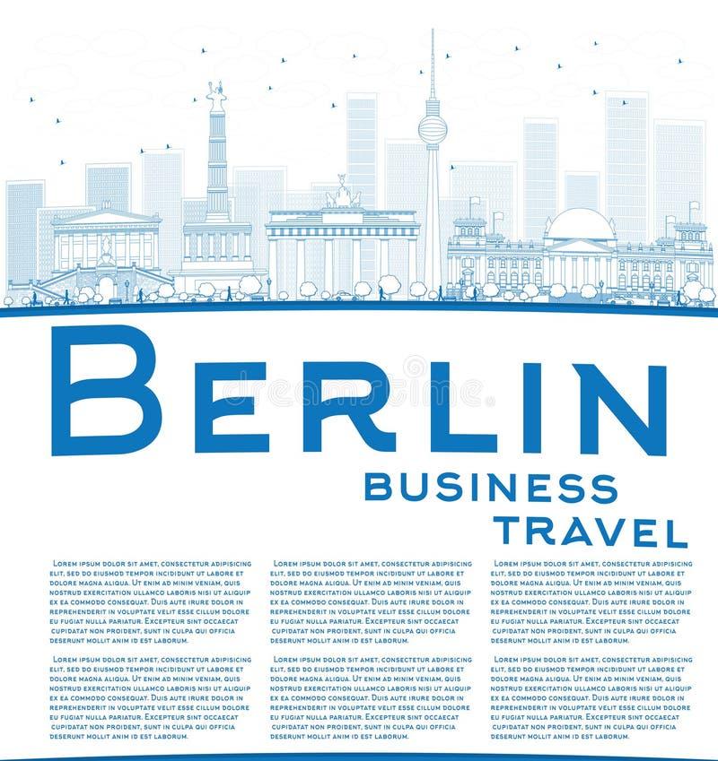 Décrivez l'horizon de Berlin avec le bâtiment bleu et copiez l'espace illustration de vecteur
