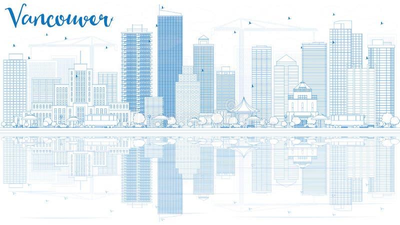 Décrivez l'horizon de Vancouver avec les bâtiments bleus et les réflexions illustration libre de droits