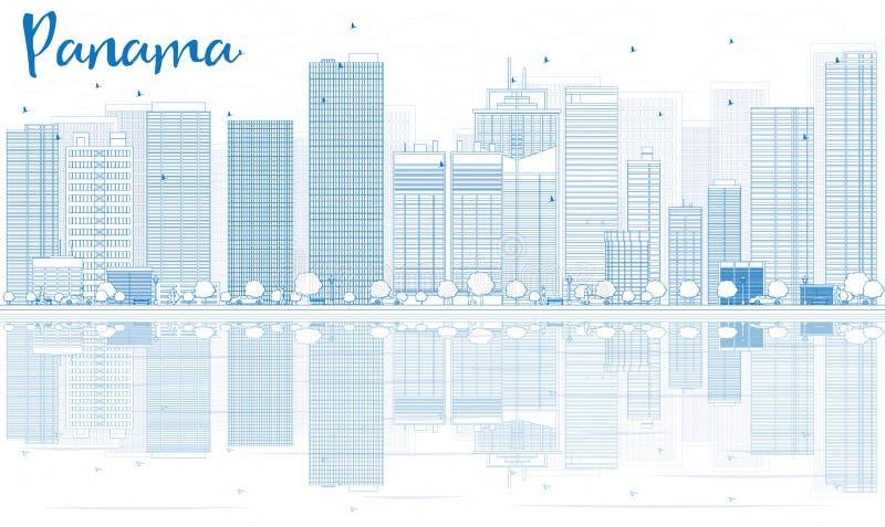 Décrivez l'horizon du Panama avec les bâtiments bleus et les réflexions illustration libre de droits