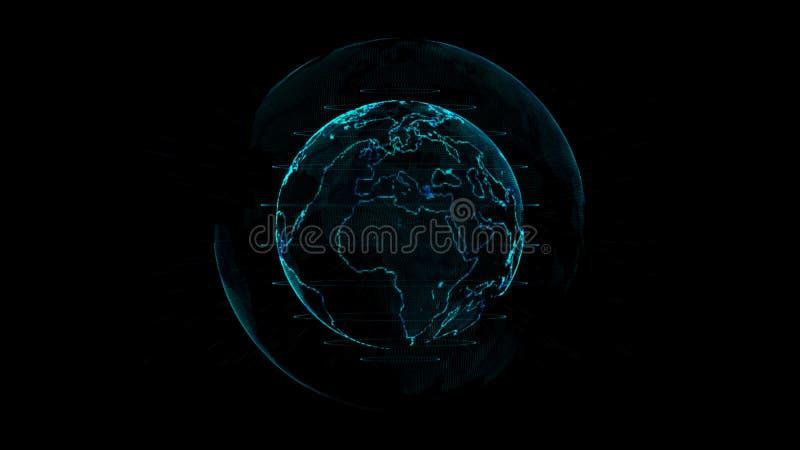 Décrivez la terre avec la ligne de grille sur l'illustration de l'espace illustration libre de droits