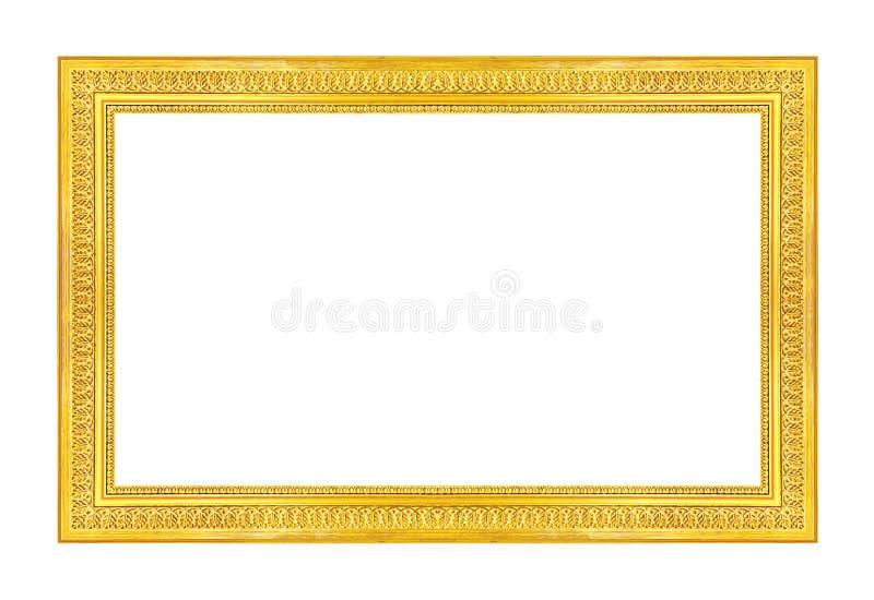 Décrivez le cadre d'or d'isolement sur le fond blanc, chemin de coupure photographie stock libre de droits