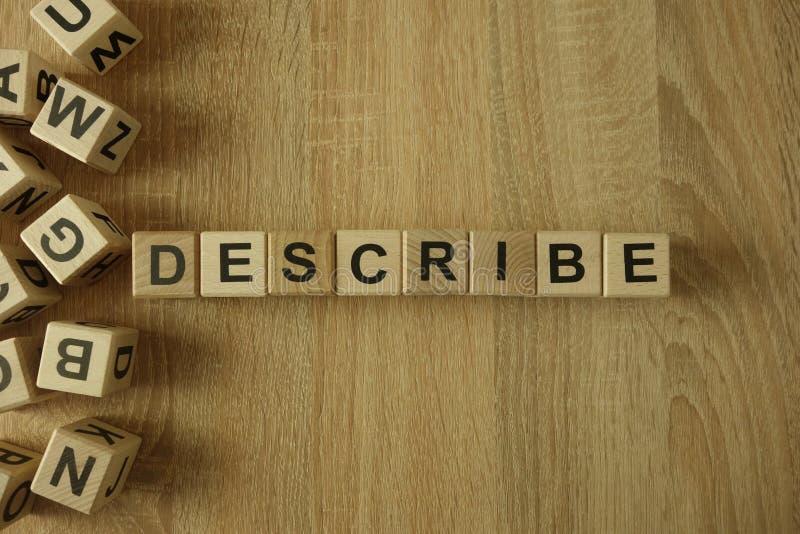 Décrivez le mot des blocs en bois photo libre de droits