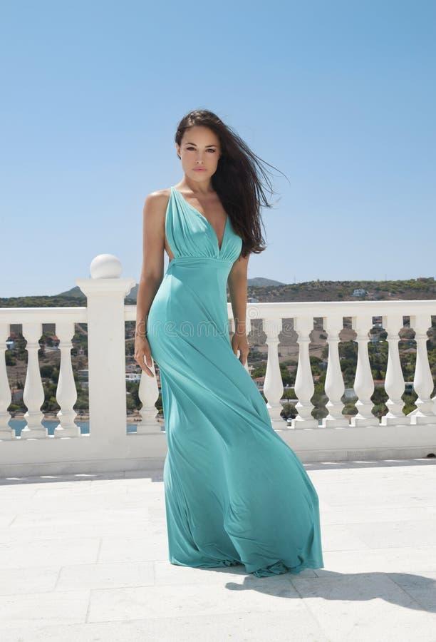 Déesse dans la robe bleue images libres de droits