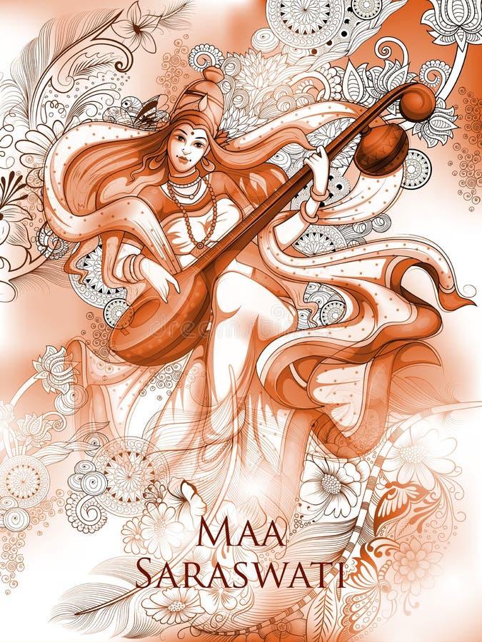 Déesse de la sagesse Saraswati pour le fond de festival de Vasant Panchami India illustration stock