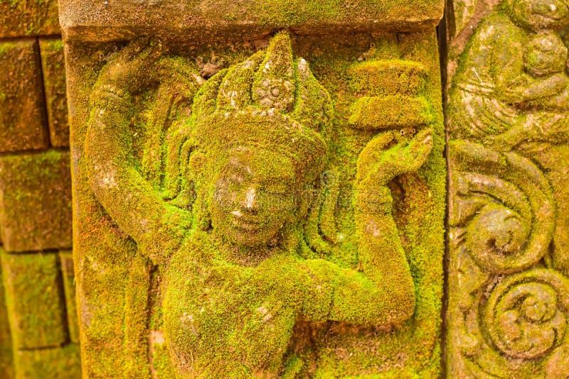 Déesse de visage de stuc sacrée avec de la mousse verte photographie stock libre de droits