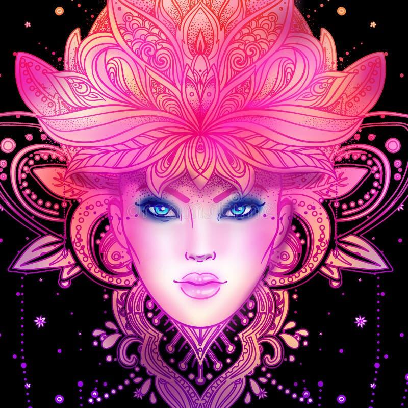 Déesse divine Diva tribale de Boho de fusion Belle fille divine asiatique avec la couronne fleurie, kokoshnik Dame de Bohème illustration libre de droits