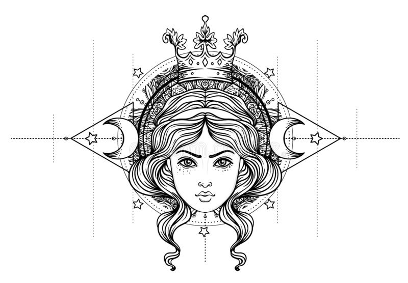 Déesse divine Fille noire et blanche au-dessus de signe sacré de la géométrie, illustration d'isolement Croquis de tatouage Symbo illustration de vecteur