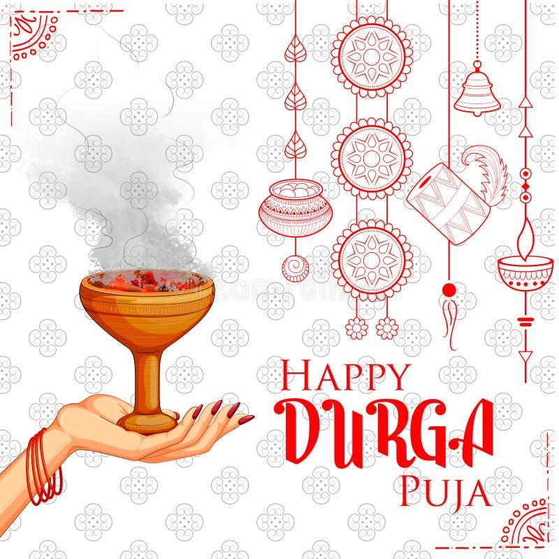 Déesse Durga à l'arrière-plan heureux de Dussehra Navratri illustration libre de droits