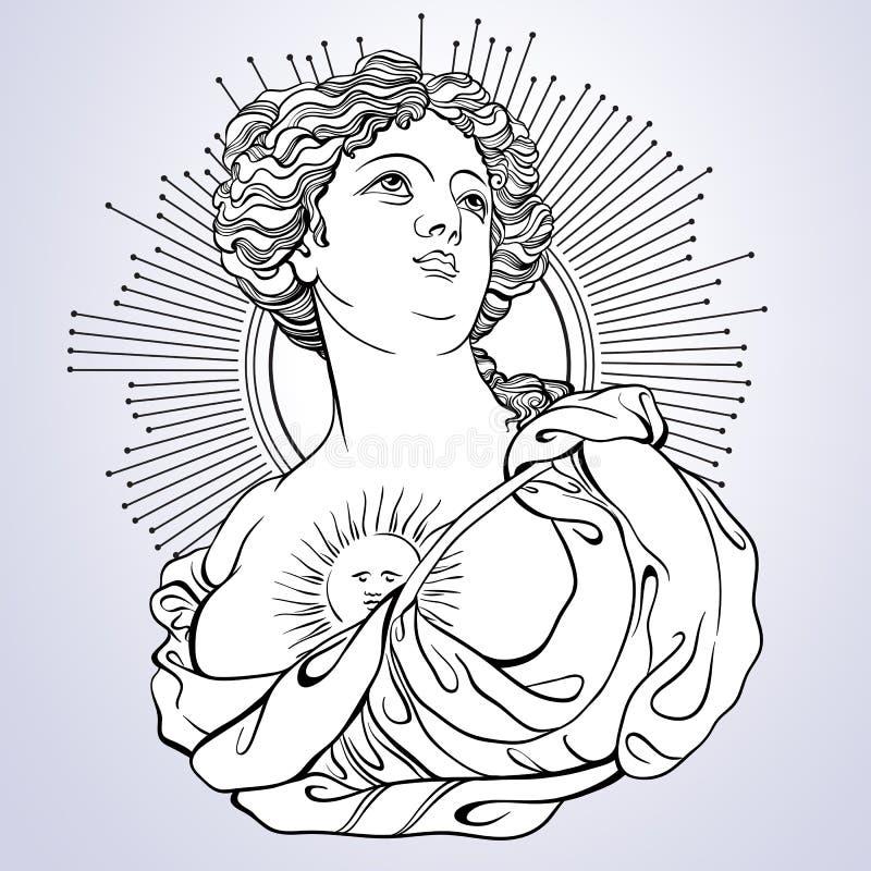 Déesse grecque Camée victorienne Grand pour livre de coloriage Illustration de Vetor dans la ligne style d'isolement illustration libre de droits