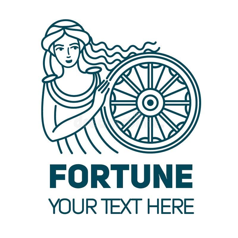 Déesse romaine de Fortuna d'argent de richesse et d'illustration linéaire de fortune Beau et jeune femme illustration de vecteur