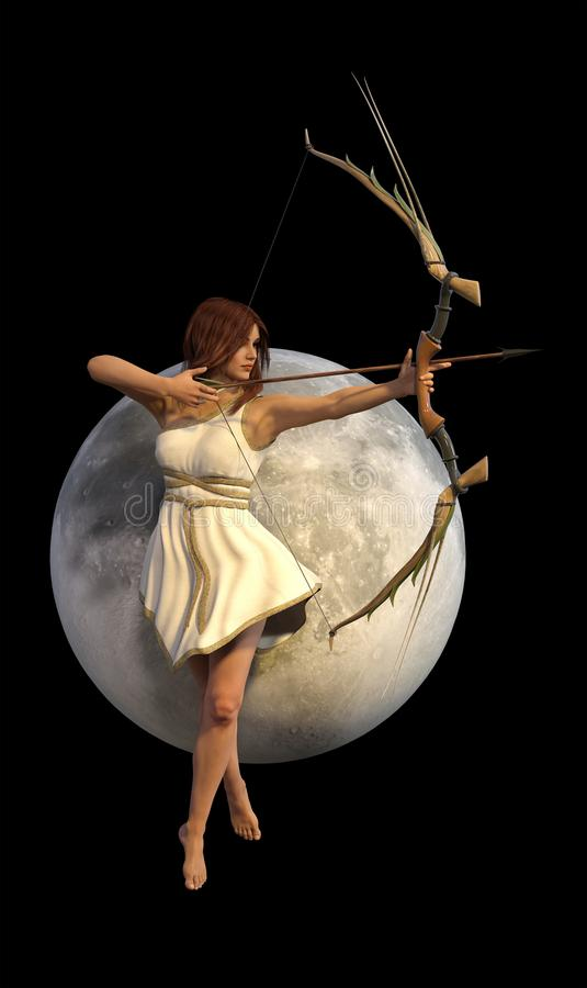 Déesse romaine grecque d'Artemis Diana Selena des chasseurs illustration de vecteur