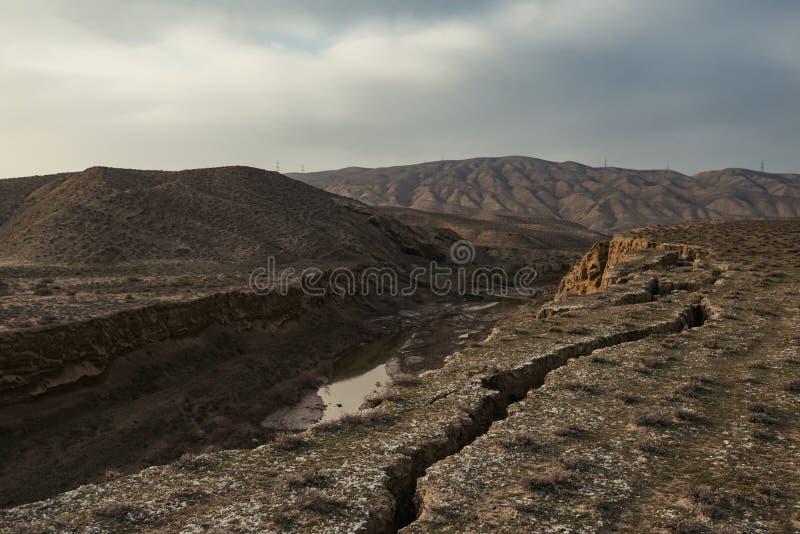 Défauts de la croûte terrestre, conséquence du tremblement de terre image stock