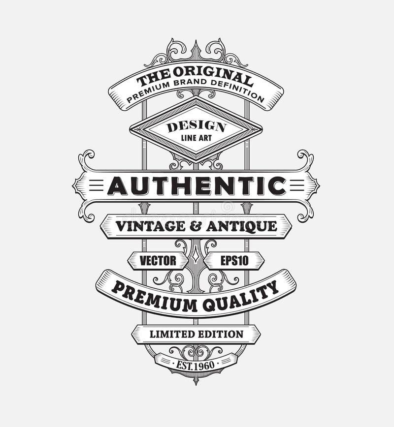 Défectuosité antique occidentale de vecteur de frontière de typographie de label de cadre de vintage illustration stock