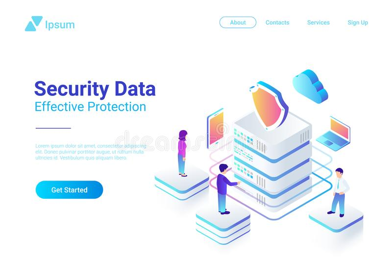 Défectuosité plate isométrique de vecteur de protection des données de sécurité illustration de vecteur